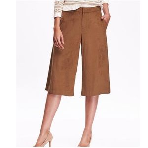 Old Navy Brown Faux Suede Culottes